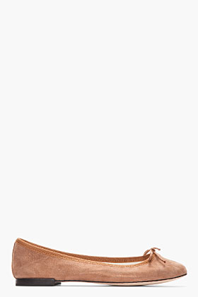 REPETTO Brown Metallic Suede Cendrillon Flats for women | SSENSE