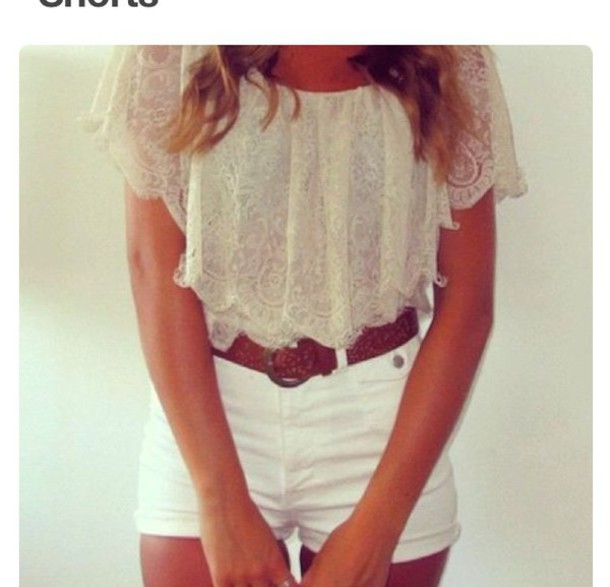 Blouse: white, high waisted shorts, fashion, cute, style ...