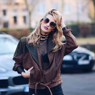 jacket tumblr brown jacket leather jacket top black top see through see through top bra underwear necklace silver jewelry jewels jewelry silver necklace silver choker choker necklace black choker crescent pendant sunglasses