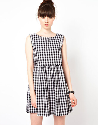 dress smock dress gingham little black dress square