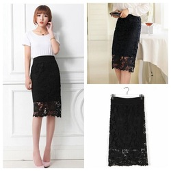 Online Shop Free Shipping New 2014 Women Plus Size Hollow Out Lace Crochet Bust Skirt With Lining Sexy Knee Length Slim Midi Pencil Skirts|Aliexpress Mobile