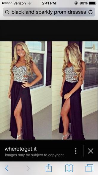 dress black sparkly dress long prom dress black dress rhinestones dress black and silver shiny