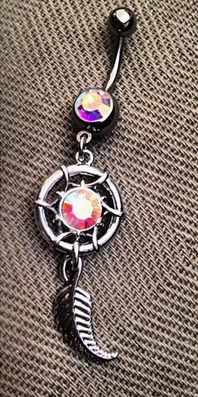 jewels feather multi-color dreamcatcher bellybutton ring