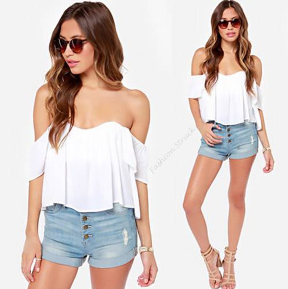 white top blouse top boho gypsy ruffled ruffles off the shoulder top