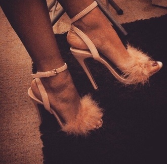 shoes pink pink high heels fluffy cute high heels