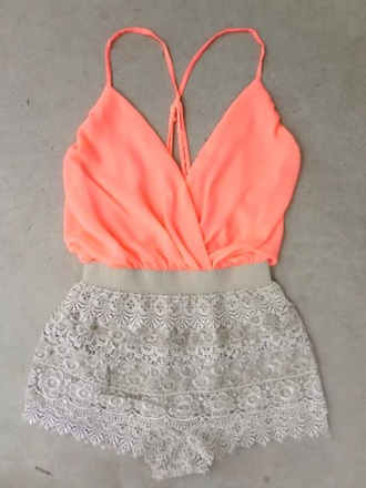 romper orange neon orange shorts tank top