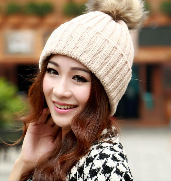 84af3771c84 Europe raccoon fur ball of wool knitted wool winter hat female winter hat  foreign Women Hat ...
