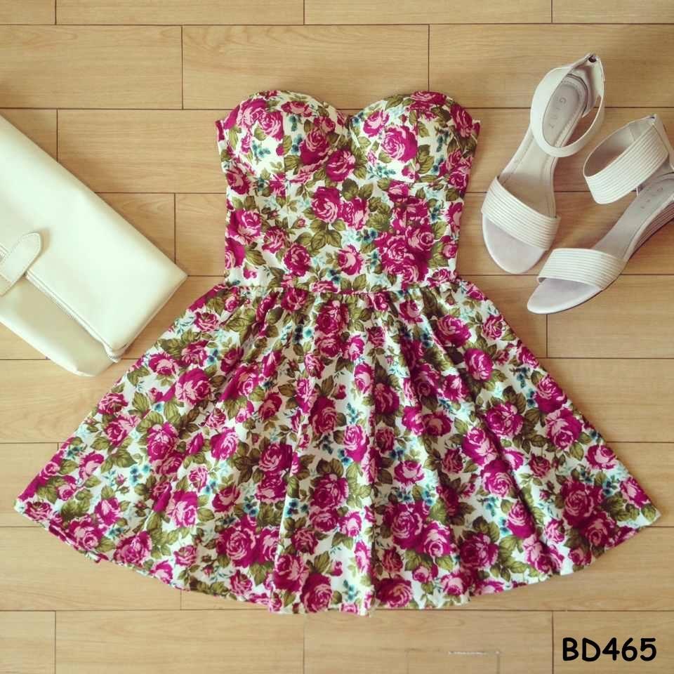 Julia retro floral bustier dress with adjustable straps