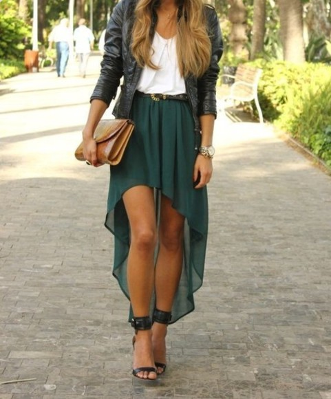 summer skirt long skirt summer outfits dark green white top leather jacket pumps high heels cute tanned girl brown clutch summer style high low skirt forest green high waisted skirt strappy black heels