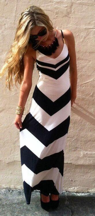 dress black and white dress summer dress