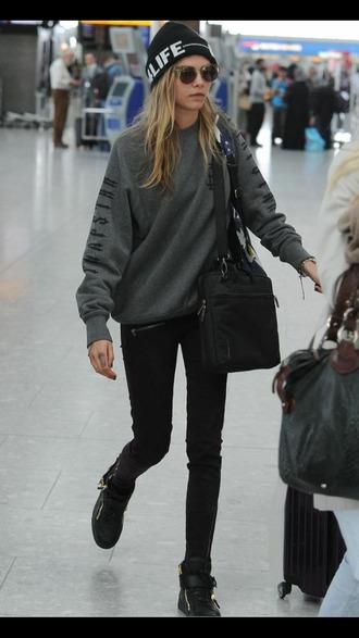 cara delevingne gray sweater gray