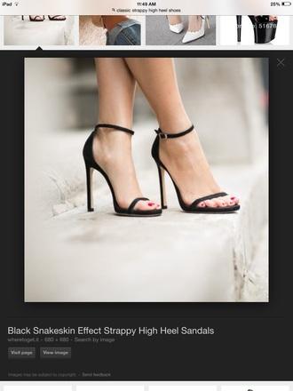 shoes black high heels strappy heels