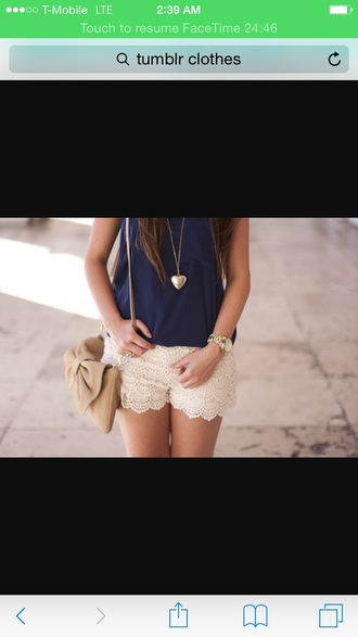 bag cute outfits cute embroidered shorts blouse bow purse tan white blue shirt blue