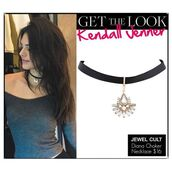 jewels,jewel cult,jewelry,necklace,choker necklace,black choker,pendant,kendall jenner,kendall jenner jewelry,keeping up with the kardashians,celebrity style,celebrity,model,model off-duty,grunge,grunge jewelry