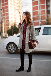 the bow-tie,blogger,coat,dress,shoes,bag,winter outfits,mini dress,thigh high boots,burgundy bag,tumblr,printed coat,red dress,burgundy,burgundy dress,boots,black boots,over the knee boots,thigh-high boots,flat boots