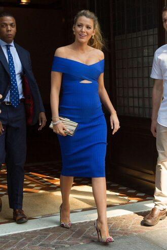 dress shoes pumps bodycon dress midi dress off the shoulder off the shoulder dress blake lively blue dress blue maternity dress maternity clutch bag