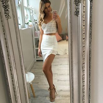 skirt thigh high split sheer detail high waisted skirt crochet top white skirt white crop tops white crochet thin straps top