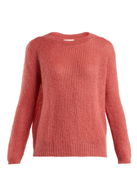 MASSCOB Flo dropped-shoulder mohair-blend sweater in pink