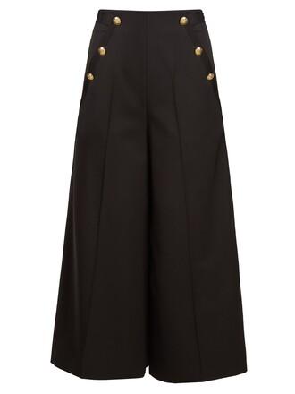 cropped high wool black pants