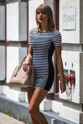 black and white dress striped dress bodycon dress