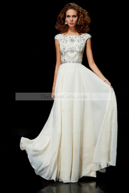Flamboyant A Line High Scoop Neck Floor Length Ivory Chiffon Beading Dress - shop dresses