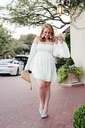 glitter&spice,blogger,dress,shoes,bag,bell sleeve dress,white dress,off the shoulder dress,summer dress,summer outfits,pumps