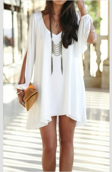 dress white white dress clothes long sleeved dress long sleeve mini dress sheer sheer dress flowy shift dress chiffon chiffon  dress slit sleeve long sleeve dress v-neck v-neck dress