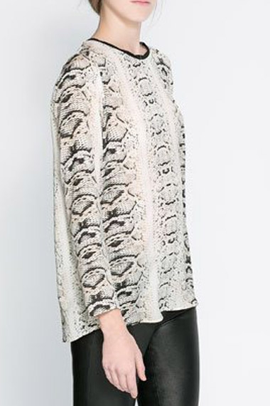 Snake Texture Printing Long Sleeve Blouse