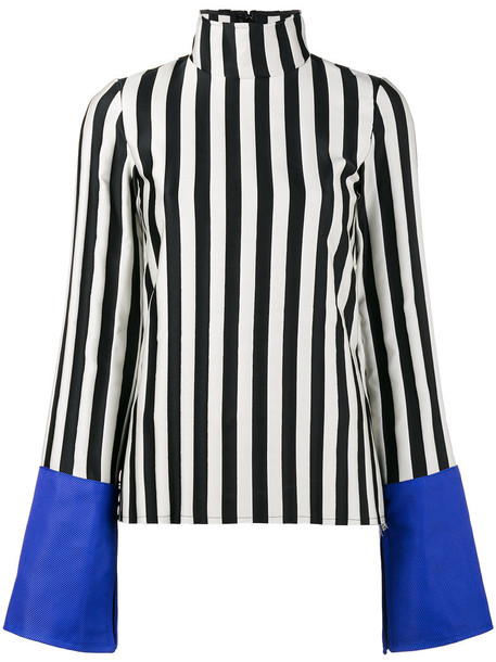 Marques'almeida - striped satin top with contrast cuffs - women - Polyester - XS, Black, Polyester