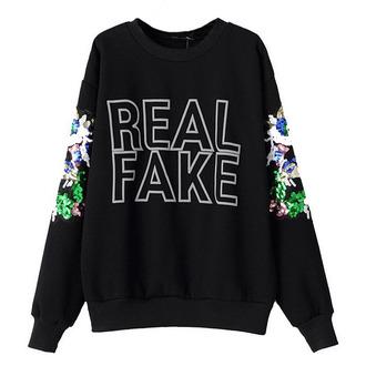 sweater black brenda-shop sweatshirt pullover letters sequin shirt cool