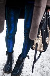 pants,fish scale leggings,blue leggings,metallic leggings,leggings,printed leggings,metallic