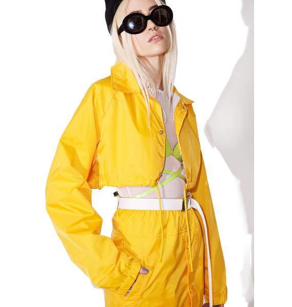 CROP COACH JACKET yellow coach jacket crop jacket yellow jacket crop top crop coat yellow coat coach coat gold yellow jacket yellow crop