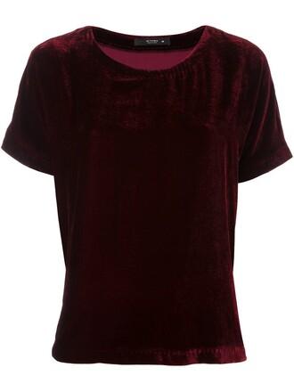 t-shirt shirt women silk purple pink top