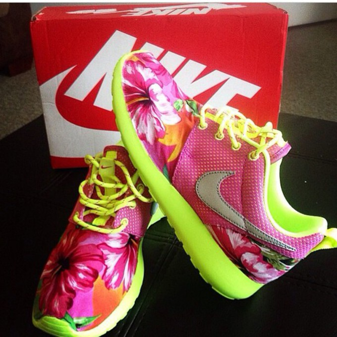 shoes flowers lime green roshe runs shoes lime green