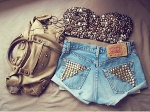 bustier tube top studded studs silver bra sequins sequin bag jeans