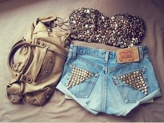 bustier tube top studded studs silver bra sequins bag jeans skirt shirt top crop tops glitter sparkle crop top strapless brallete blouse sparkle bedazzled shorts tank top strass pants brown tank top high waisted shorts