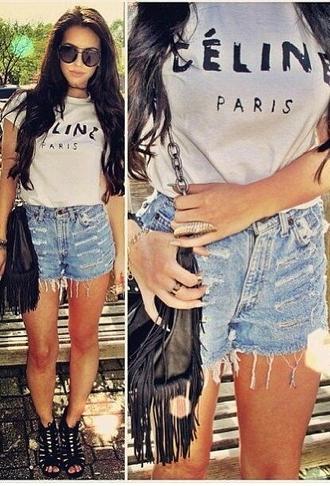 bag fashion t-shirt shorts celine paris t-shirt white top casual chic blogger shirt style