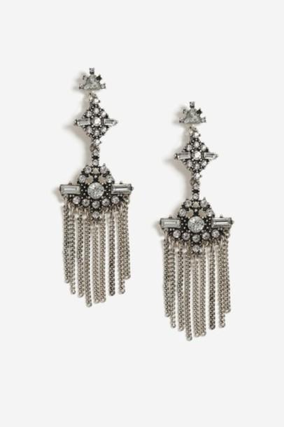 Topshop tassel clear earrings jewels