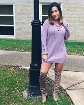 dress,amazing lace,sweater dress,purple sweater dress,lace up dress,lace up sweater dress