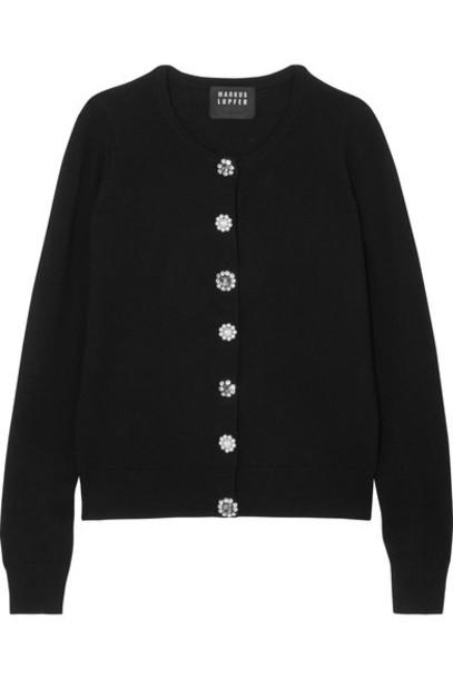 cardigan cardigan embellished black wool sweater