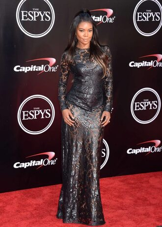 dress gown long dress gabrielle union black dress lace dress prom dress see through dress red carpet dress long sleeve lace dress