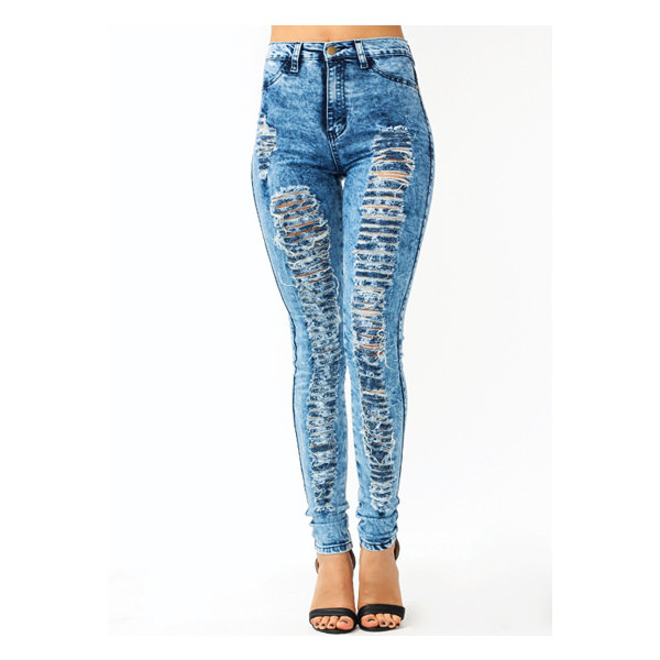 Distressed Acid Wash Skinny Jeans