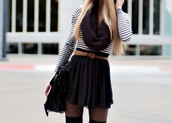 knitted scarf,waist belt,striped top,black skirt,skater skirt,fall outfits,tights,black bag,messenger bag,infinity scarf,shirt,shoes,scarf,red scarf,skirt,belt,stripes,black and white,skirt with belt,top,clothes,bag,dress