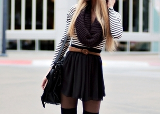 scarf knitted scarf knit infinity purple skirt black skater skirt tucked in belted stripes tights over-the-knee t-shirt underwear shirt black-and-white belt cute fashion winter outfits cold