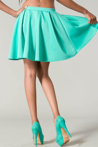 skirt shoes summer outfits skater skirt pleated pleated skirt neon mint mint skirt mint green skirt mint green bottom scuba skirt