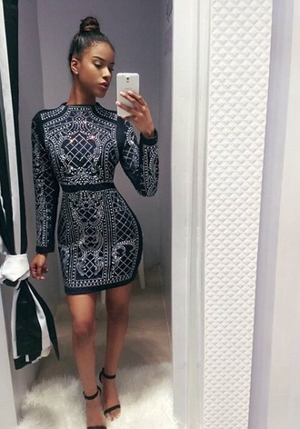 dress black dress white white dress black bebe sparkly dress balmain cute outfits pumps sparkly heels short bodycon dress