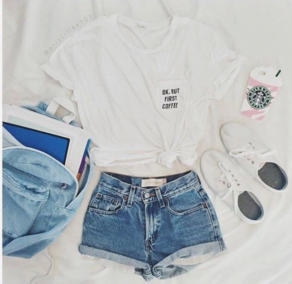shirt shorts white white t shirt white top white