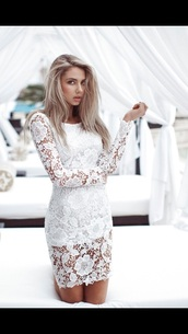 dress,lace,white,classy,floral,formal,urgent,short,length,tight,urgent answer,long sleeve lace dress,lace dress,long sleeves,white dress,mini dress,bodycon dress,sexy dress