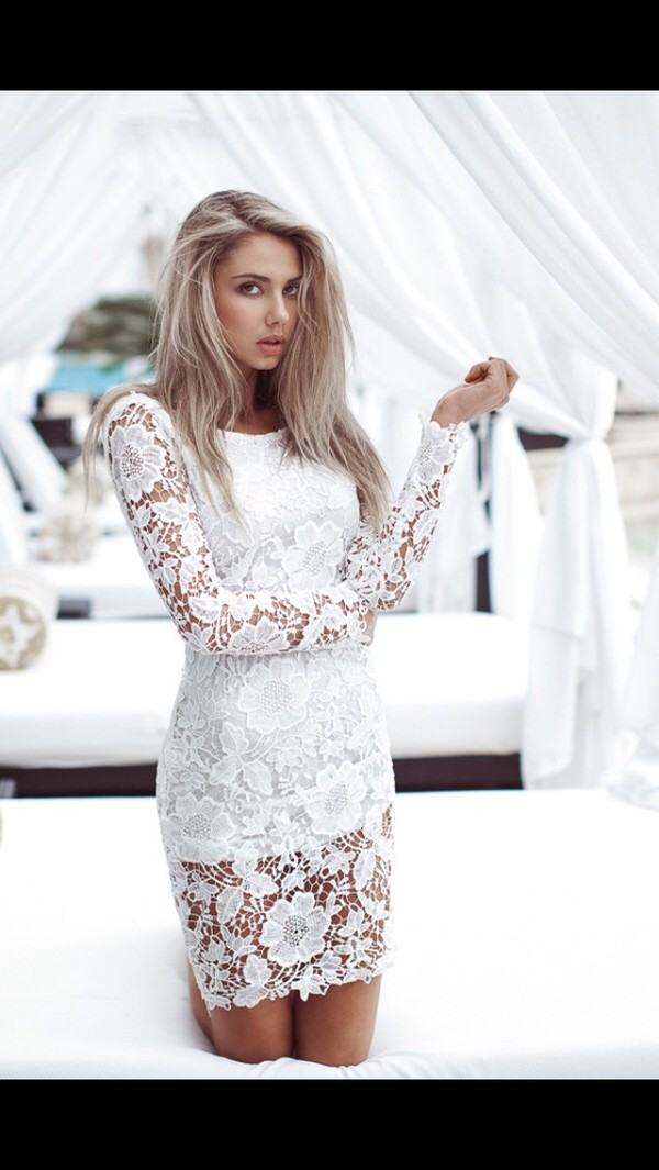 dress lace white classy floral formal urgent short length tight urgent answer long sleeve lace dress lace dress long sleeves white dress mini dress bodycon dress sexy dress