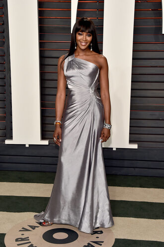 silver silk dress naomi campbell model off-duty one shoulder gown prom dress oscars 2016 long prom dress
